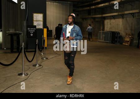 Los Angeles, CA, USA. 18 janvier, 2019. LA Clippers guard Patrick Beverley #21 avant les Golden State Warriors vs Los Angeles Clippers au Staples Center le 18 janvier 2019. (Photo par Jevone Moore) Credit: csm/Alamy Live News Photo Stock