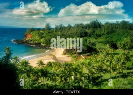 Plage sur moyen de jardins alerton, Kauai, Hawaii Photo Stock