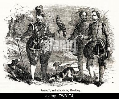 James I et bord hawking. Date: 1614 Photo Stock