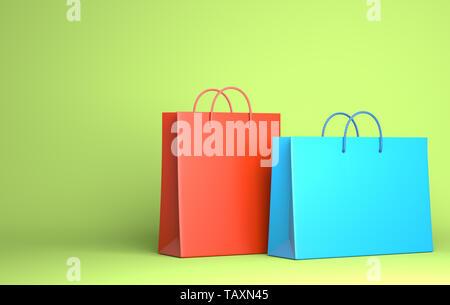 Deux sacs vides sur le vert. 3D illustration Photo Stock