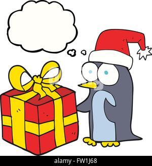 Freehand appelée bulle pensée cartoon pingouin avec noël présent Photo Stock