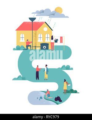 Green eco friendly people community illustration sur fond isolé. Homme et femmes pour divers soins de la Terre dans les actions de quartier durable fo Photo Stock