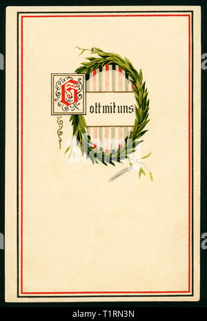 Allemagne, Schleswig-Holstein, Pinneberg, WW I, carte postale avec couronne de laurier et le texte ' Dieu avec nous ', envoyé 31. 12. 1915. , Additional-Rights Clearance-Info-Not-Available- Photo Stock