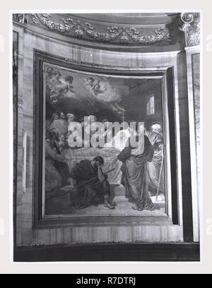 Sutri Viterbo Latium S. Maria Assunta, Duomo, c'est mon l'Italie, l'Italie Pays de l'histoire visuelle, une vue sur l'extérieur, vues de colonnes et chapiteaux, crypte et sculpture sacristie core collection médiévale. Une vue sur l'intérieur de l'entrée hall, nef, fresques au plafond, couloir menant à la sacristie sacristie, peintures, tableaux et peintures de la crypte à Cappella di S. Francesco. Photo Stock