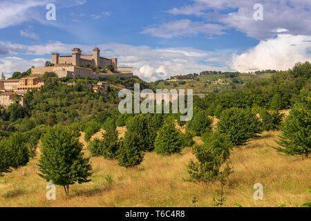 L'Italie, l'Ombrie, Pérouse, Spello, Rocca Albornoz Photo Stock