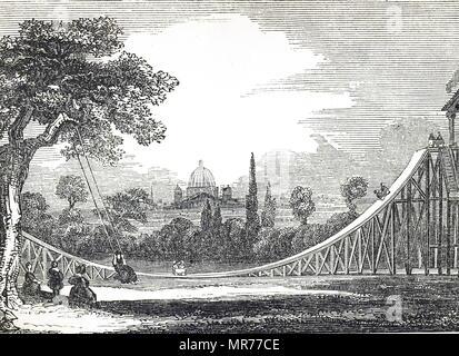 Gravure représentant un terrain de jeux avec un toboggan dans un Londres, comme un groupe de jeunes filles jouent sur une balançoire. En date du 19e siècle Photo Stock