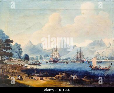 HMS Resolution et HMS Discovery à Moorea, Polynésie Française, peinture, 1780-1789 Photo Stock