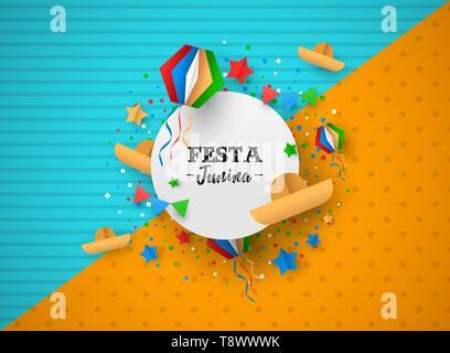 Festa Junina maison de l'illustration. Papier coloré décoration artisanat et festif pour signer texte célébration traditionnelle au Brésil en juin. Photo Stock