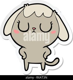 D'un autocollant cute cartoon dog Photo Stock