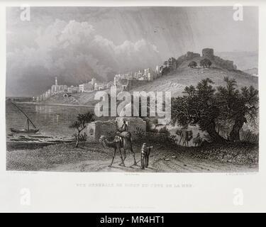 Gravure de Victor Guerin (1821 - 1891) représentant le port de Sidon, au Liban. 1875 Photo Stock