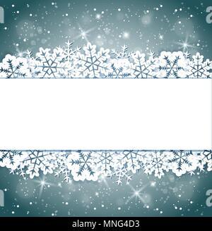 Bannière de Noël brillant vecteur avec des flocons de neige. Maison de vacances Carte de Noël pour l'arrière-plan Photo Stock