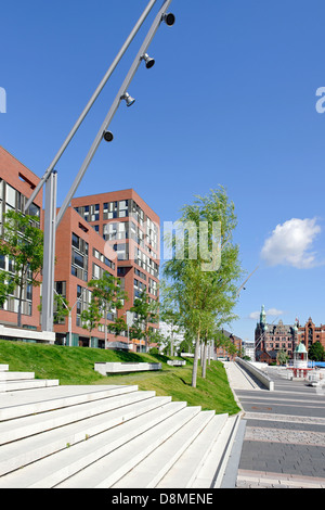 L'architecture moderne, Osakaallee, HafenCity, Hambourg, Allemagne Photo Stock