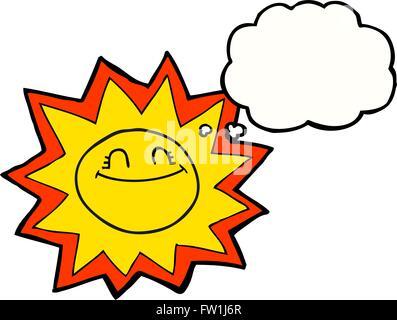 Freehand heureux dessiné bulle pensée soleil dessin animé Photo Stock