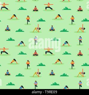 Une structure de diverses personnes faisant du yoga en plein air de l'exercice. Les hommes et les femmes des caractères dans l'arrière-plan de remise en forme. Photo Stock