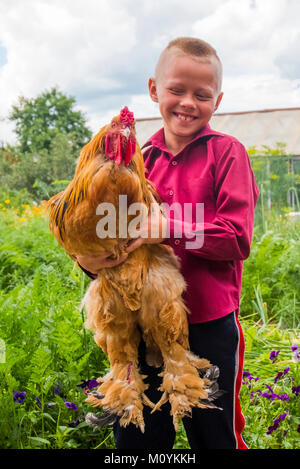 Caucasian boy holding coq sur farm Photo Stock