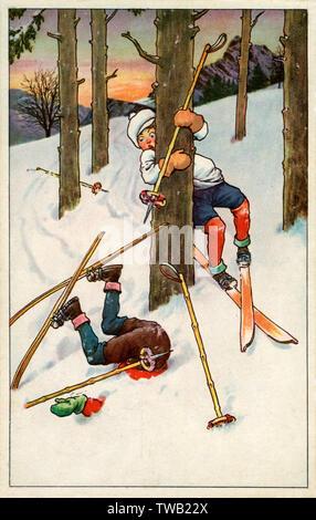 Ski un malheur comme un skieur prend une sèche d'essayer de naviguer à travers un bouquet d'arbres sur une pente alpin suisse. Date: 1924 Photo Stock