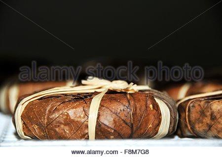 De Provence Banon (fromage enveloppé dans des feuilles de châtaignier) Photo Stock