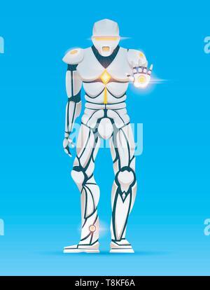 Cyborg homme élégant. Robot humanoïde avec l'intelligence artificielle, AI. caractère montre les gestes. Homme, Android vector illustration futuriste dans la caricature Photo Stock