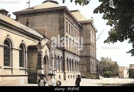 Dans les écoles, bâtiments en Großenhain Großenhain, 1910, Landkreis Meißen, Großenhain, Bürgerschule, Allemagne Photo Stock