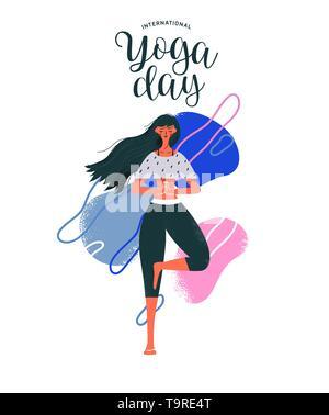 Journée internationale de l'illustration de carte de Yoga femme en posture de l'arbre pour la méditation, la santé et la forme physique. Photo Stock