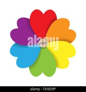 Pétales de fleurs sous la forme d'un cœur aux couleurs de LGBT. Au coeur de la fleur est l'abréviation LGBT. Photo Stock
