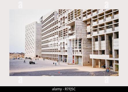 L'Inde, Chandīgarh, Secrétariat par Le Corbusier, 1968 ou plus tôt, les villes de Mughul India Photo Stock