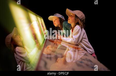 (Publié le 01/04/2006, E-12) CN__génome 254033x101 3/19/2006__San Diego, CA_S.D. Natural History Museum_Twins MIRANDA, gauche, et Lauren BERNHARD, de San Diego, examiner l'affichage à l'du génome qui compare la création de cellules d'un ''cookie'' usine_CHARLIE NEUMAN/San Diego Union-Tribune Photo Stock