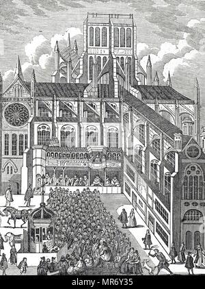 Gravure représentant l'évêque de Londres à prêcher le roi James I de St Paul's Cross - 1620. En date du 19e siècle Photo Stock