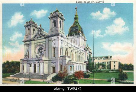 Basilique de St Mary's, Minneapolis, Minnesota, USA. Date: 1935 Photo Stock