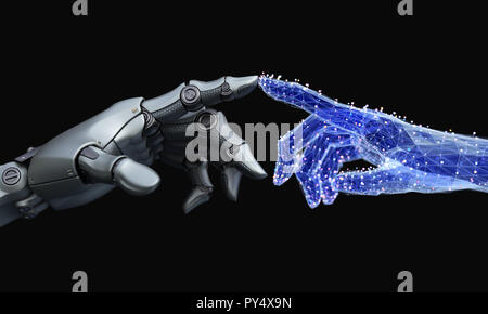 La main touche Robot fait main virtuelle de net. 3D illustration Photo Stock