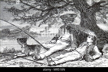 Gravure représentant un vieux pêcheur assis sur la berge d'une attente de quelque chose à mordre avec son petit-fils. En date du 19e siècle Photo Stock