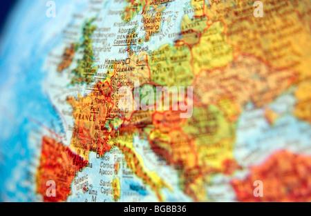 Photographie de la carte europe globe EU UK pays britanniques billet Photo Stock