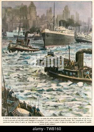 Le port de New York bloqué par la glace. Date: 1940 Photo Stock