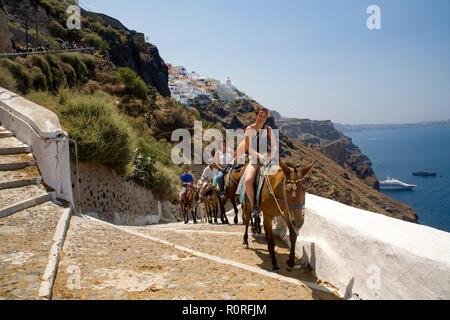 Les touristes à cheval sur les mesures des ânes qui monte à flanc de Santorin © Myrleen Pearson ...Ferguson Cate Photo Stock