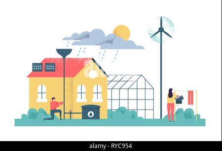 Green eco friendly house illustration sur fond isolé. L'homme et la femme travaillant dans la maison durable de l'environnement des soins. Bâtiment moderne avec win Photo Stock