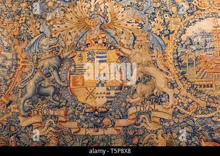 La tapisserie représentant les armoiries du comte de Leicester daté 1585 Photo Stock