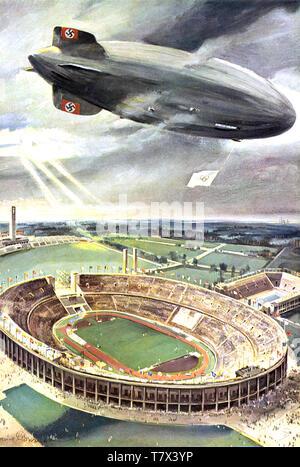 Aux JEUX OLYMPIQUES DE BERLIN 1936. Zeppelin Lz-129 flotte au-dessus de la cérémonie d'ouverture Photo Stock