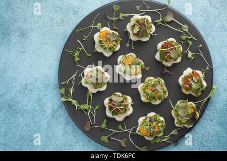 Petite forme fleur Sandwhiches. Photo Stock
