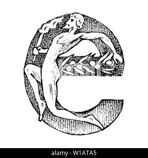 Ancien antiquité lettre capitale E d'un ornement. La culture grecque. Double exposition. Croquis dessinés à la main, gravée dans un style vintage. Photo Stock