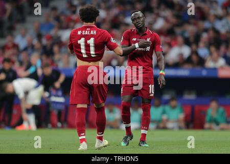 MOHAMED SALAH, SADIO MANE, Tottenham Hotspur FC V LIVERPOOL FC finale de Champions League 2019, 2019 Photo Stock