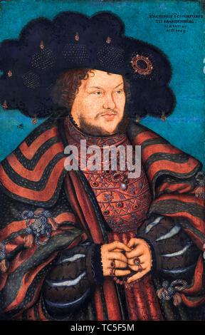 Lucas Cranach le Jeune, Joachim JE Nestor, Électeur de Brandebourg, 1484-1535, portrait, 1529 Photo Stock