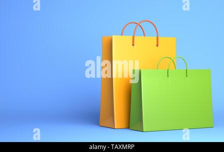 Deux sacs vides sur le bleu. 3D illustration Photo Stock