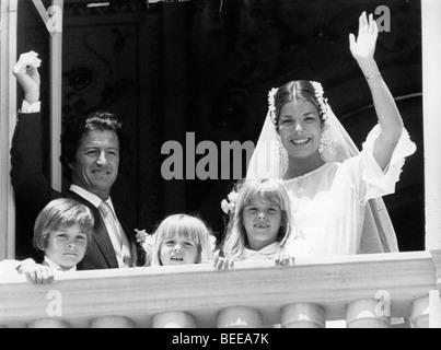 Caroline, Princesse de Hanovre, et Philippe Junot sont mariés à Monaco. Photo Stock