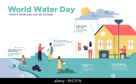 La Journée mondiale de l'eau infographie illustration sur la sécurité des eaux propres de l'aide. Diverses personnes friendly communauté sociale faisant eco actions durables pour l'EEIE Photo Stock