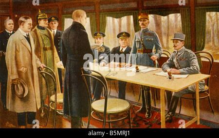 9 1918 1111 A1 1 C 1918 Armistice Compiegne Guerre Mondiale Carte postale 1 1914 18 l'Armistice entre l'Allemagne Photo Stock