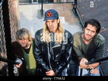 Groupe de rock américain nirvana en octobre 1990. De gauche: Kurt Cobain, Dave Grohl, Daniel Johnston enregistre ses premières chansons chez lui Krisdt. Photo: Hanne Jordanie Photo Stock