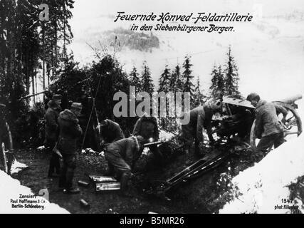 9 1917 1 0 A1 E Honved field artillery, Sieben mont Guerre Mondiale 1 août 1916 Campagne roumaine Roumanie Photo Stock
