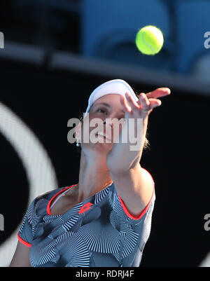 Melbourne Park, Melbourne, Australie. 19 Jan, 2019. Open de tennis d'Australie, jour 6 ; Elise Mertens de Belgique à renvoie la balle contre Madison USA de clés : Action Crédit Plus Sport/Alamy Live News Photo Stock