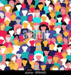 La Journée internationale des femmes motif transparente de diverses femmes visages. Fille coloré du groupe pour l'égalité des droits, mars manifestation féministe ou div Photo Stock