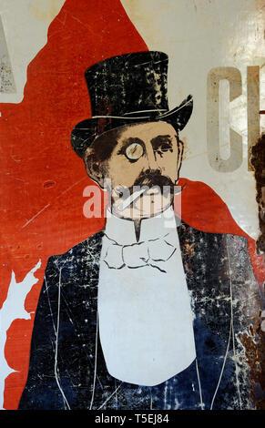 Illustration de l'homme portant un chapeau haut de forme et monocle Photo Stock